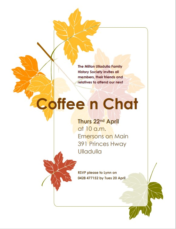 Read more about the article Coffee and Chat – Thursday 22nd April 2021
